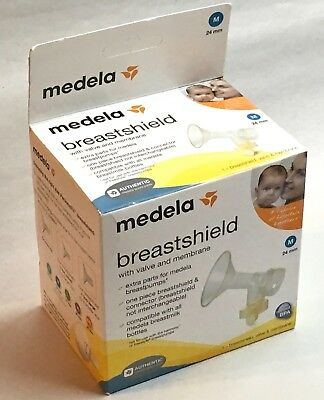 Medela Breast Shield - w/ Valve & Membrane - M 24mm - FACTORY SEALED BOX