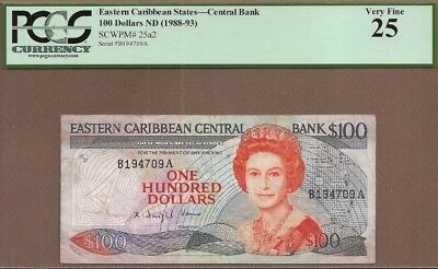 EAST CARIBBEAN STATES: 100 Dollars Banknote,(VF PCGS25),P-25a2,1988,No Reserve!