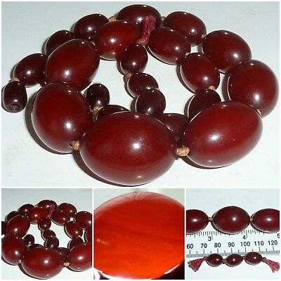 Art Deco Cherry Amber Bakelite Bead Necklace 46 Grams largest oval bead 3 cm