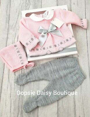 Spanish/Portuguese Pink & Grey Knitted Ribbon Suit  - Gift Boxed