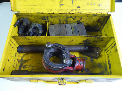 Pipe threading dies and stock. BSP 1/4, to 1 1/4. In metal case. Thomas Chatwin
