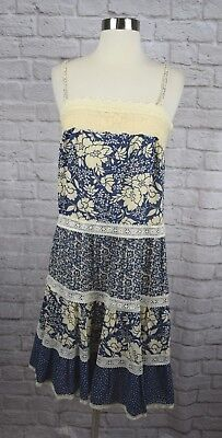 a5236beeeda Anthropologie Maeve 4 Blue Ivory Floral Lace Trim Tiered Sundress