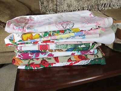 Lot Of 11 Vtg & Later Tablecloths Cutter Christmas, Floral , Rooster , Easter