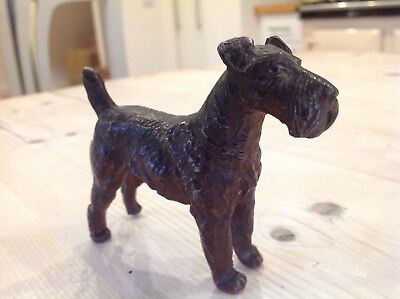 Antique cold painted fox terrier,spelter fox terrier dog,Welsh terrier,