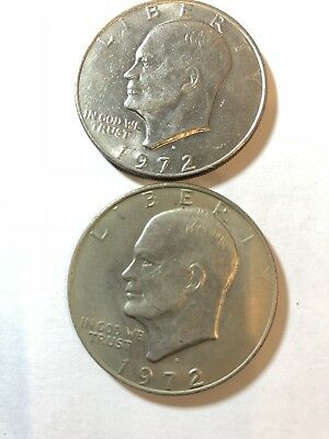 lot of 2 1972-D $1 Ike Dollar