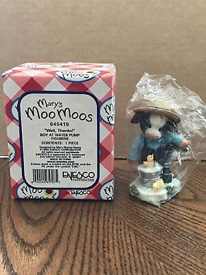 "Enesco Mary's Moo Moos ""Well, Thanks!"" Boy At Water Pump  645419"