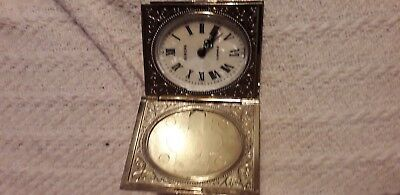 Europa Travel Clock Germany Vintage Brass Wind Up 2 Jewels