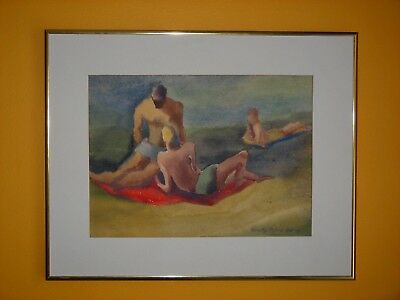 Original Listed American Woman Artist Dorothy Milne Rising Watercolor Painting