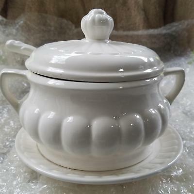 Soup Tureen Made in Japan White with Lid, Ladle and Plate