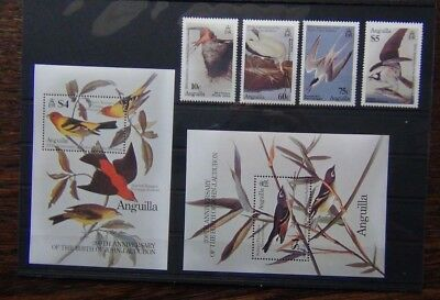 Anguilla 1985 Birth Centenary John J Audubon Birds set & Miniature Sheet MNH