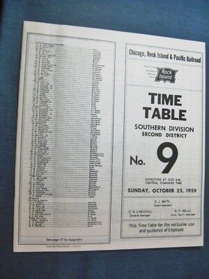 Chicago Rock Island & Pacific Railroad Employee Timetable 1959