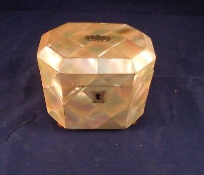 Rare Antique 18th Century George III mother of pearl  octagonal  Tea Caddy