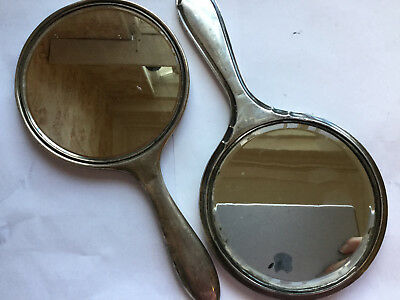 2 x Antique Sterling Silver Hand Mirrors No Reserve