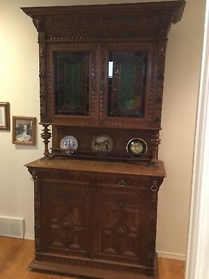Beautiful Antique Hutch 19th Century Late 1800's with Stained Glass