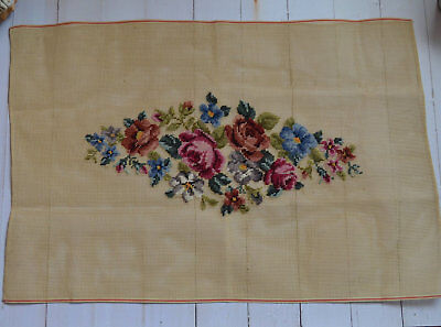 """28"""" Vintage Preworked Needlepoint Canvas Rose Floral Completed"""