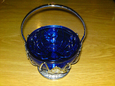 Silver Tone Crome Filigree Bowl With Cobalt Blue Glass Liner - Sugar
