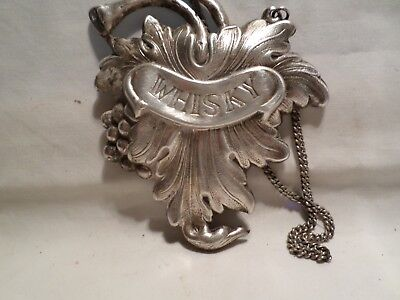 Silver Plated Whisky Decanter Label.