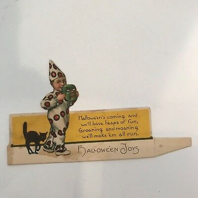 Old Vintage Cardstock Halloween Name Place Card Boy Clown Mask Black Cat 20-30's