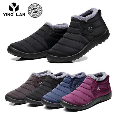 Womens Winter Snow Boots Waterproof Plush Fur Lining Flat Ankle Thickening Shoes