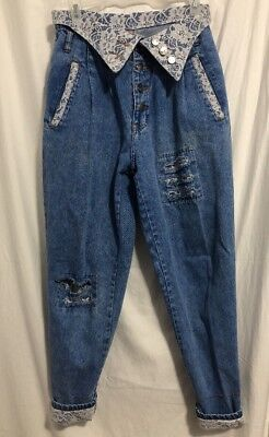 True Vintage 80'S TRAFFIC Denim & Lace Distressed Button Fly Jeans Women's 9