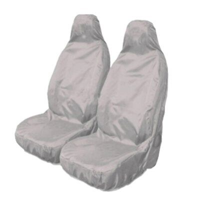 2pcs Universal Car Nylon Heavy Duty Waterproof Grey Front Seat Covers Protect EV