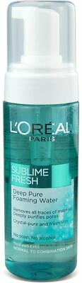 ** 2 X L'OREAL SUBLIME FRESH DEEP PURE FOAMING WATER MAKE UP REMOVER 150ml EYES