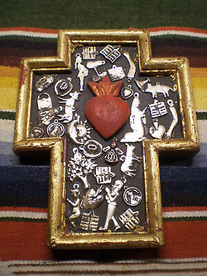 Vintage Mexican Folk Art Wood Sacred Cross Gold with Silver Milagros 7.25X5.5