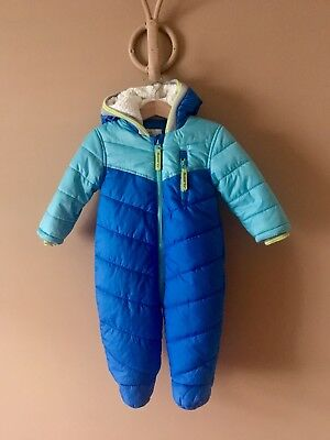 M&S Boys Blue Hooded Fleece Lined Snow Pram Suit Size Age 6-9 Months