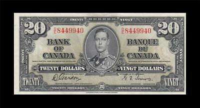 1937 BANK OF CANADA KGVI $20 **Gordon & Towers** (( EF ))