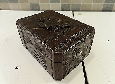 ANTIQUE 19thC BLACK FOREST BOX HAND CARVED IN RELIEF IN THE FORM OF A TRUNK