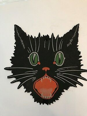 Old Vintage Halloween Cardboard Diecut Die Cut Out Black Cat Face Dennison 1960s