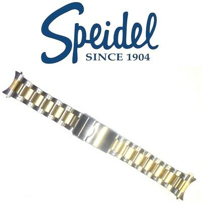 SPEIDEL 22mm WATCH BRACELET LINK BAND STAINLESS STEEL & GOLD PLATED CURVED ENDS
