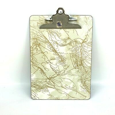 VTG 50s 60s Formica Clipboard National Mid Century Office Gold Marble Masonite x