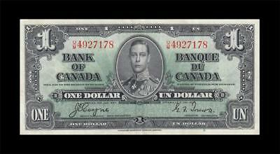 1937 BANK OF CANADA KGVI $1 **Coyne & Towers** (( EF ))