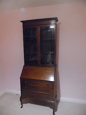 "Antique Writing Desk Bureaux with Display Cabinet   30"" W x 17""D x 78""H"