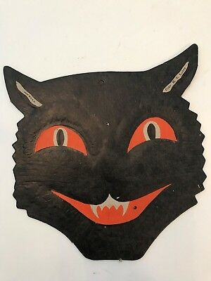 Old Vintage Halloween Cardboard Diecut Die Cut Out Black Cat Face H. E. Luhrs
