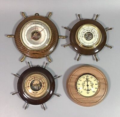 Four vintage ships wheel aneroid wall barometers Short Mason German Lorister