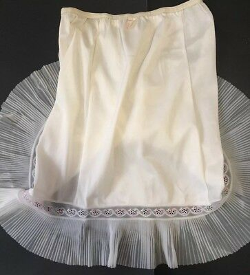 "Vintage White Half Slip With Accordion Hem Size Medium 20"" Length"