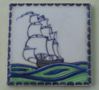 Vintage Pottery Tile Ship Galleon Poole Sherwin & Cotton J9J Sp Made In England