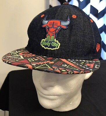 b787b86ed3e New Era NBA CHICAGO BULLS Denim Neon Snapback Strapback Cap Hardwood Classic  Hat