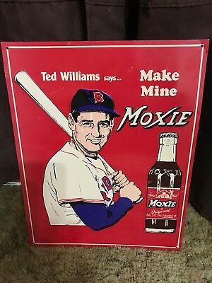 "Ted Williams says ""Make mine Moxie"" embossed tin sign."