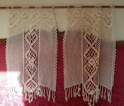 Stunning Pair of Antique French Hand Crocheted Pompom Fringed Lace Curtains