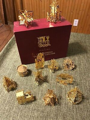 Danbury Mint Gold Christmas Ornament Collection, 12 ornaments in box.
