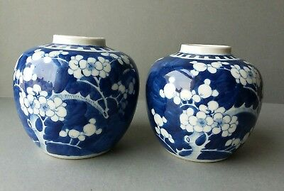 Pair of Chinese Porcelain Blossom Ginger Jars with Kangxi mark.
