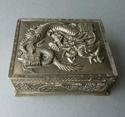 Chinese Japanese style Metal Box with Dragon.
