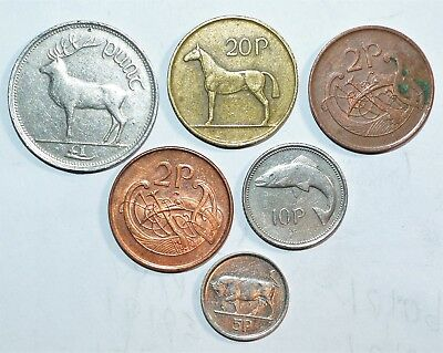 1986 - 1996 IRELAND 20 10 5 2 1 pence animal coins lot world foreign