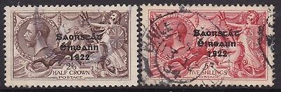 Ireland 1927-28 Seahorse 2S.6D & 5S Wide Dates Cds Used, Cat £160