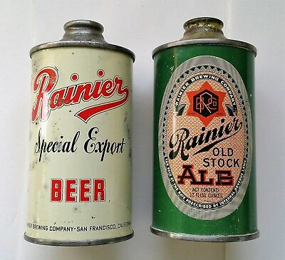 Lot Of Two Irtp Rainier Beer Brewing San Francisco Cal Low Profile Cone Top Cans