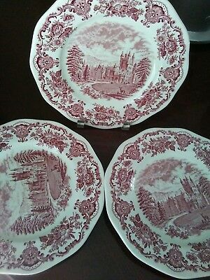 1 Red transferware vintage DINNER PLATE Wedgwood ROYAL HOMES OF BRITAIN 3 availa
