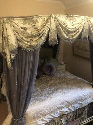 Huge King Mahogany Four poster Bed With Silk Canopy